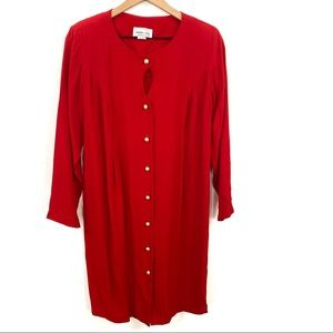 Vintage Pearl Button Front Keyhole Neck Red Dress